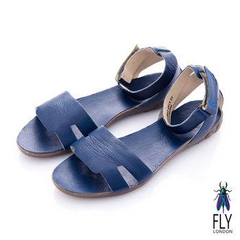 Fly London(女) 五月 牛皮踝扣平底涼鞋 - 海邊藍