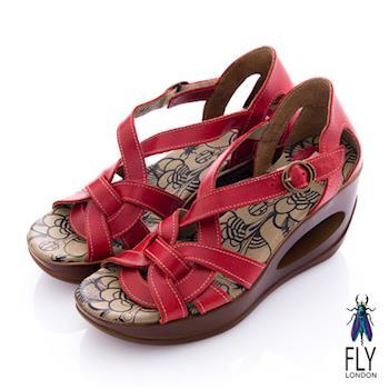 Fly London(女) 編織牛皮 洞力楔型涼鞋 - 紅