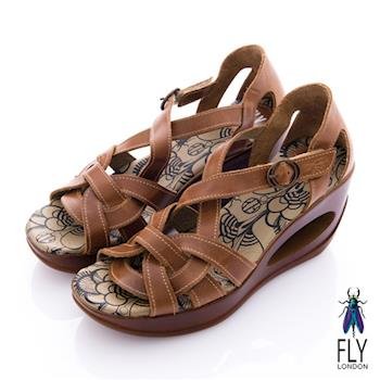 Fly London(女) 編織牛皮 洞力楔型涼鞋 - 咖