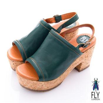 Fly London(女) 南法姑娘 素面木塞高跟涼鞋 - 深綠