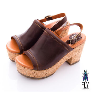 Fly London(女) 南法姑娘 素面木塞高跟涼鞋 - 深棕