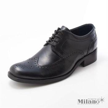 【W&M】頂級總統皮鞋系列 (BK) 小牛皮_ 雕花鞋面_真皮透氣舒適皮鞋~
