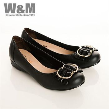 W&M 真皮立體蝴蝶結包頭低跟女鞋-黑