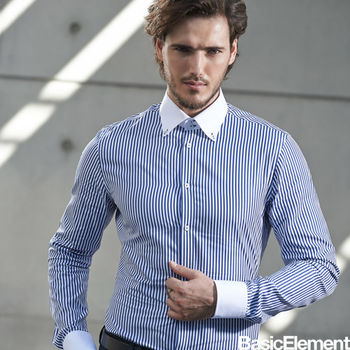 【BasicElement】男款撞色精梳純棉襯衫-深藍條