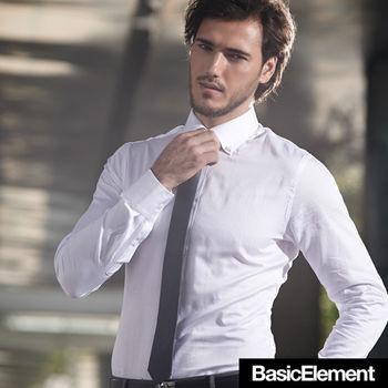 【BasicElement】男款精梳純棉襯衫-白色