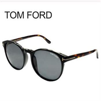 【TOM FORD太陽眼鏡】復古圓框雙色系-黑框-琥珀鏡腳(TF9353-01A)
