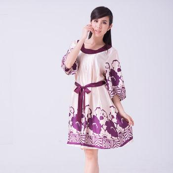 【七彩光】純蠶絲綁帶復古印花睡衣