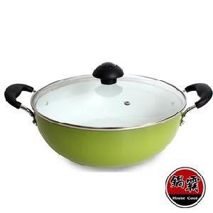 【鍋霸】 陶瓷不沾萬用鍋 /多功能陶瓷鍋28cm(蘋果綠)