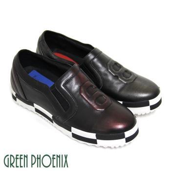 【BIS-VITAL 】86黑白格紋套入式進口手工擦拭皮精品平底休閒鞋-紅色、鐵灰色