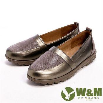 【W&M】BOUNCE輕量系列 接拼皮革光感休閒女鞋-咖(另有黑)