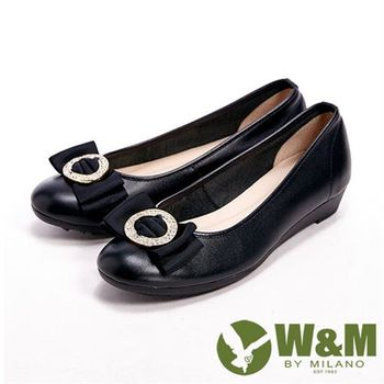 【W&M】 真皮緞帶壓圓扣閃亮亮楔型女鞋- 黑(另有卡其)