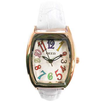 【KEZZI】酒桶型繽紛數字皮質錶帶女錶(白色)