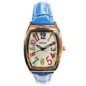 【KEZZI】酒桶型繽紛數字皮質錶帶女錶(藍色)