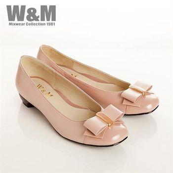 W&M 真皮漆皮蝴蝶結包頭低跟女鞋-粉(另有黑)
