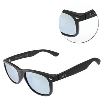 【Ray Ban 雷朋】NEW WAYFARER-方形霧黑水銀藍色太陽眼鏡(RB2132-F-622/30)