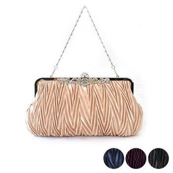 【PETiTEY】時尚鑲鑽緞面百褶晚宴包 手拿包 宴會 派對 喜宴 舞會(4色)