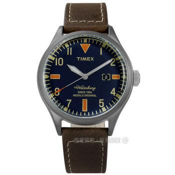 TIMEX 天美時/ TXT2P83800 / INDIGLO 美國指標經典復刻日期真皮手錶 藍x深褐色 42mm