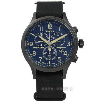 TIMEX 天美時/ TXT4B04200 / INDIGLO 美國指標戶外玩家三環計時真皮手錶 藍x黑框 42mm