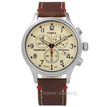 TIMEX 天美時/ TXT4B04300 / INDIGLO 美國指標戶外玩家三環計時真皮手錶 米x咖啡 42mm