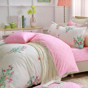 HOYACASA花影倩舞   加大四件式抗菌純棉兩用被床包組