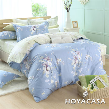 HOYACASA曼妙幽藍   加大四件式抗菌純棉兩用被床包組