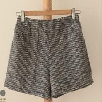 [協賀]拼色格子鬆緊毛呢短褲