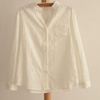 [協賀]白色豎條紋棉襯衫