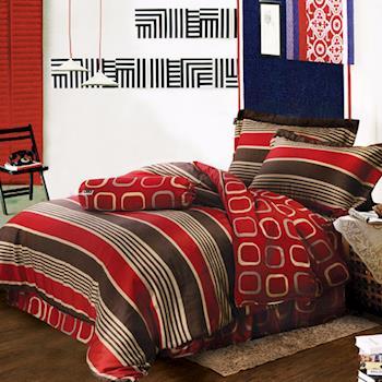 夢工場 羅綺染翠天絲五件式中式寢具組-雙人