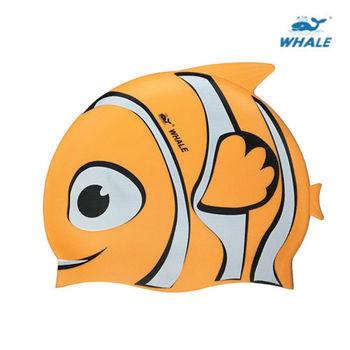WHALE 小丑魚防水矽膠兒童泳帽(橙)