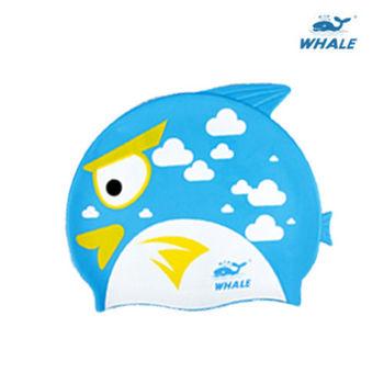 WHALE 可愛魚形防水矽膠兒童泳帽