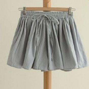 [協賀]小清新純色繫帶百搭短褲