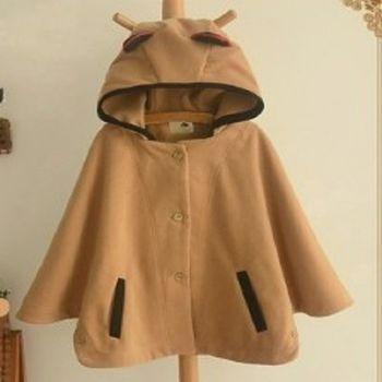 [協賀]可愛貓耳朵連帽毛呢斗篷外套