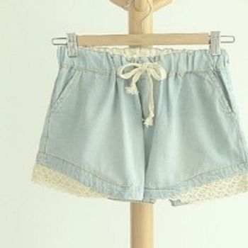 [協賀]百搭蕾絲邊牛仔褲短褲