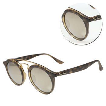 【Ray Ban雷朋】雙樑圓形水銀茶色霧面琥珀太陽眼鏡(RB4256-F-6092/5A)