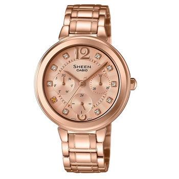 CASIO SHEEN 優雅迷人的耀眼風采時尚優質女士腕錶-玫瑰金錶面-SHE-3048PG-9A