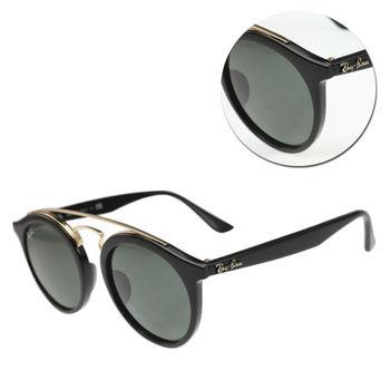 【Ray Ban雷朋】雙樑圓形墨綠亮面黑框太陽眼鏡(RB4256-F-601/71)