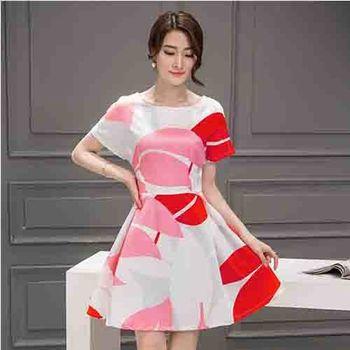 【Fabulous!!】韓版時尚氣質紅白印花H剪裁極瘦款連身洋裝(氣質美女必備)