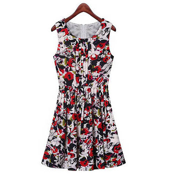 【Fabulous!!】2016春夏美麗印花無袖修身小洋裝