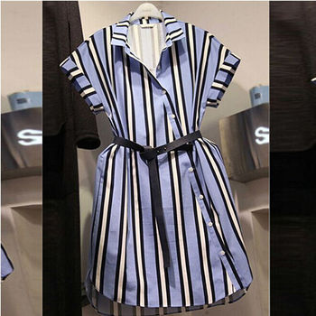 【Fabulous!!】韓版直條紋修身立領挺布長版襯衫(挺布襯衫質料)