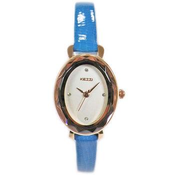 【KEZZI】復古高雅橢圓形晶鑽女錶(藍色)
