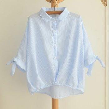 [協賀]棉麻藍色豎條紋襯衫