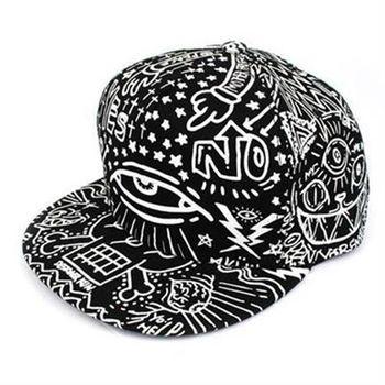 【米蘭精品】鴨舌帽棒球帽卡通塗鴉黑白彩繪遮陽帽子56g52