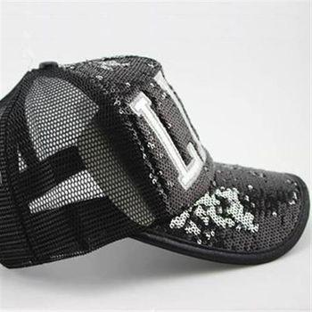 【米蘭精品】網帽棒球帽獨特設計亮片字母百搭遮陽帽子56g61