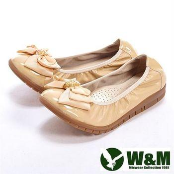 【W&M】優雅蝴蝶結緞帶柔軟女鞋-杏色(另有黑)
