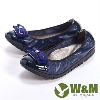 【W&M】麂皮緞帶優雅蝴蝶結柔軟女鞋-藍(另有黑)