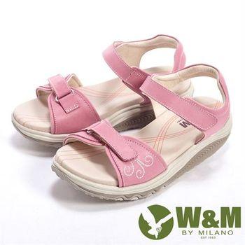 【W&M】FIT魔鬼氈健走族健塑鞋涼鞋女鞋-粉(另有淺咖、淺藍)