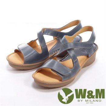 【W&M】 魔鬼氈雙開交叉設計女鞋中跟涼鞋-藍