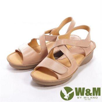 【W&M】 魔鬼氈雙開交叉設計女鞋中跟涼鞋-杏