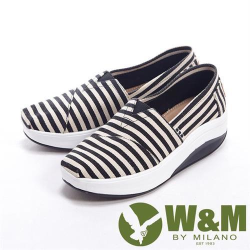 【W&M】 BOUNCE 超彈力百搭條紋增高鞋女鞋-黑