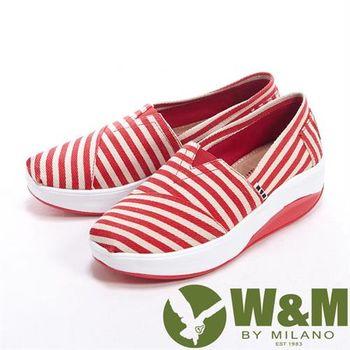 【W&M】 BOUNCE 超彈力百搭條紋增高鞋女鞋-紅
